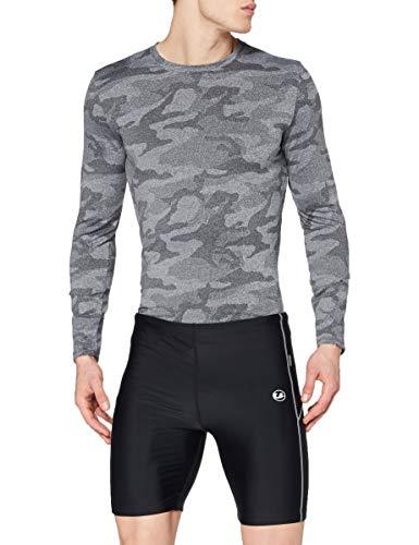 Ultrasport Pantalones cortos de correr, Negro/Paloma Gris, M