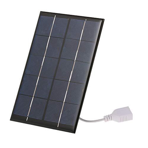 Decdeal Draagbare oplader op zonne-energie, 2,5 W, 5 V, met USB-aansluiting, monokristallijn siliconen, compact zonnepaneel, mobiele telefoon, powerbank, oplader voor kamperend wandelen, 142 x 88 x 3 mm
