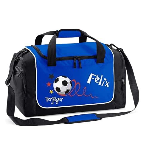 Mein Zwergenland Sporttasche Kinder personalisierbar 38L, Kindersporttasche mit Name und Torjäger Bedruckt in Royalblau