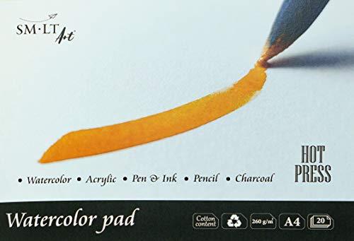 SMLT AS-20 (260)/HP - Carta per acquerello tradizionale A4, 260 g/m², 100% carta riciclata con cotone, resistente all'invecchiamento e senza acidi, 20 fogli