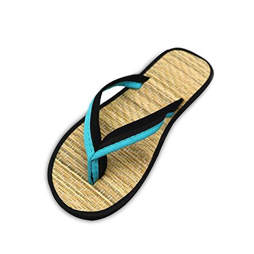 Amea Zapatillas De Mujer, Chanclas Planas Silenciosas De Ratán De Bambú, Zapatos De Punta con Tacones Bajos De Paja, Sandalias Antideslizantes para Parejas, Playa Dulce,Azul,37