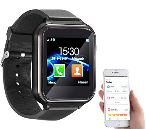 simvalley MOBILE Smartwatch mit SIM Karte: 2in1-Handy-Uhr & Smartwatch für Android, Touch-Display, Bluetooth, App (Fitnessarmband)