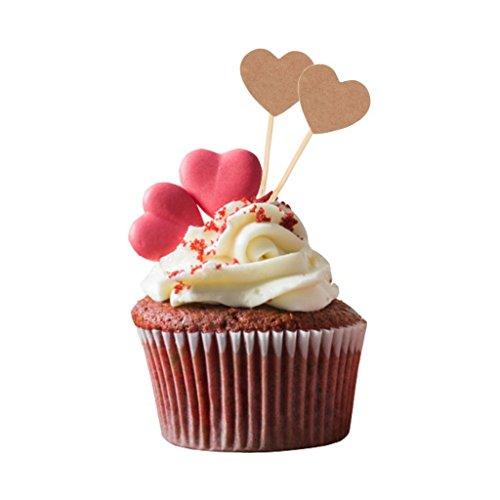 Elegantday Rustic Vintage Kraft Paper Cupcake Toppers Love Heart Picks Food Flags Snacks Sticks for Christmas Wedding Bridal Shower Party DIY Decoration 50PCS Valentines Day
