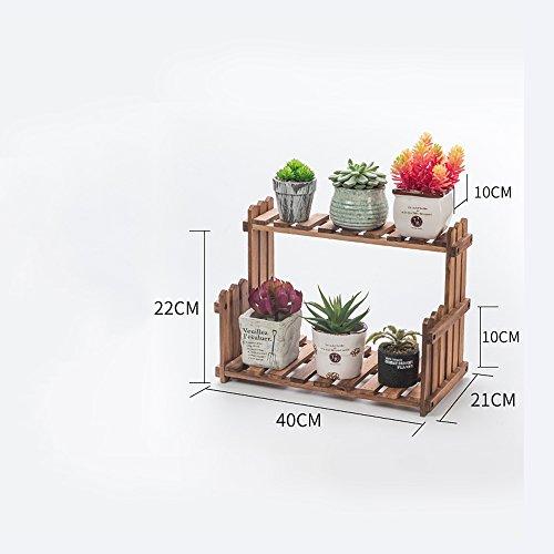XIAOLIN- Salon Balcon Plancher Multi-étage Fleur Rack Racks en bois massif Étagères intérieures simples (couleur, taille en option) --Cadre de finition de fleurs ( Couleur : Couleur du bois , taille : 40 cm )