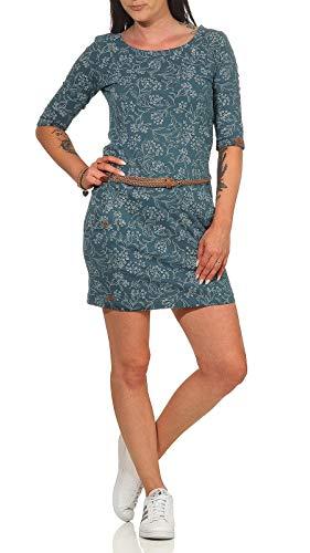 Ragwear Tanya Flowers - Vestido de verano para mujer, manga 3/4, vegano, cuello redondo, cinturón, petróleo, XS
