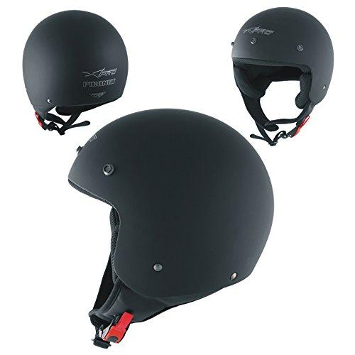 A-Pro Motorradhelm Quad Roller Offenes Jet Helm Custom ECE 22 05 Polierten Schwarz Matt M