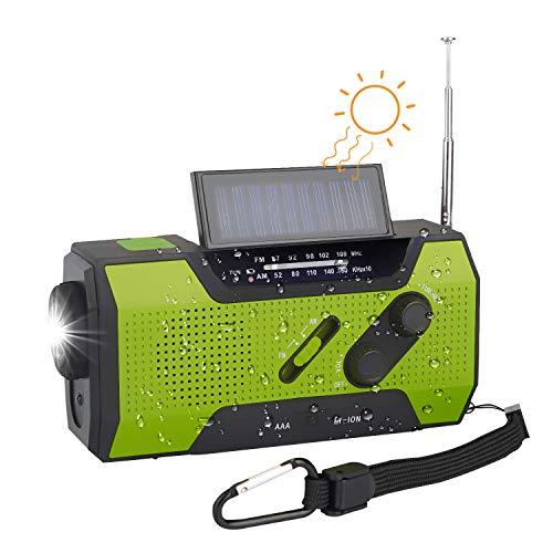 Radio de Emergencia Manivela FM AM, Generacion Solar Portátil - 2000mAh Power Bank/Lámpara de Lectura, Linterna y Alarma SOS