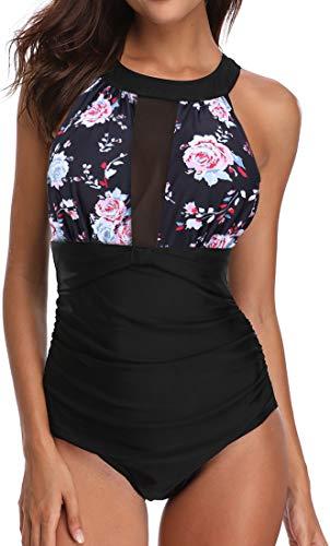 OLIPHEE Damen Schlankheits Badeanzug Raffung Einteiler High Neck Bademode Strandmode Rosa Blumen M