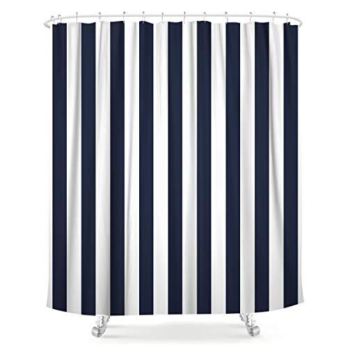 LIGHTINHOME Duschvorhang, gestreift, marineblau & weiß, 12 Stück, Metallhaken, nautisches Design, wasserdicht, für Badezimmer, Heimdekor, 183 x 183 cm