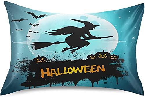 HJTLK Funda de Almohada de Seda de Lujo para Halloween, Bruja de Halloween, Funda de Almohada de satén resbaladiza y Transpirable, Antideslizante para el Cabello y la Piel