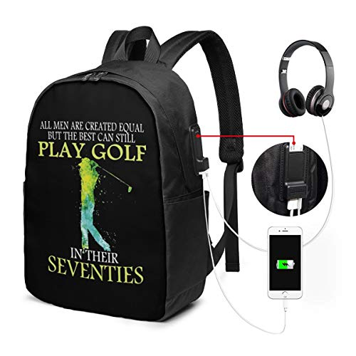 The Best Can Still Play Golf in Their Seventies Laptop Backpack for Men/Women Travel Bag USB Charging