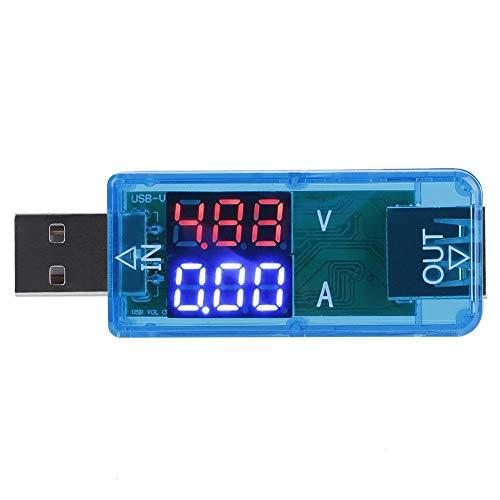 Probador USB 2.0 Multímetro 3.2-10V 0-3A USB Probador digital de corriente y voltaje Medidor Voltímetro Amperímetro IPS Pantalla a color(Bule)