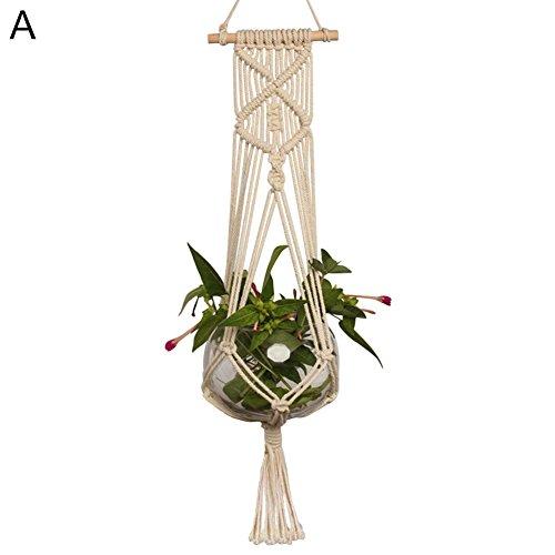 Steellwingsf Pot de fleurs à suspendre en corde de coton macramé tressé Taille A