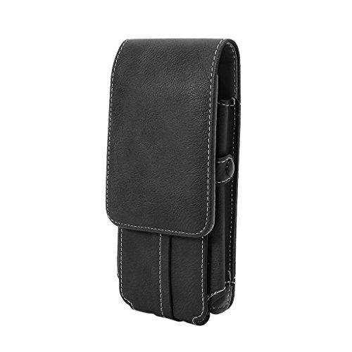 PING hombres cintura cinturón Bum bolsa teléfono cintura Flip bolsillos cuero titular tarjetas caso, Bk,
