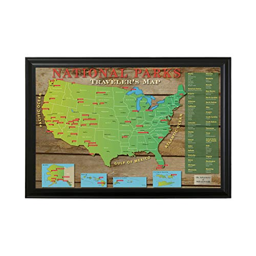 Push Pin Travel Maps Personalized National Park US with Black Frame and Pins - 27.5 inches x 39.5 inches