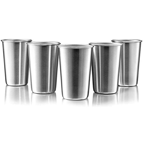16 Ounce Stainless Steel Pint Cups - Stackable Pint Cup Tumblers For Travel – Metal Cups For Drinking Outdoors - 16 Oz Reusable Steel Cups - 5 Pack