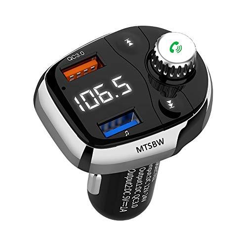 Transmisor de FM del coche de Bluetooth, gran pantalla a color de coche Bluetooth MP3 multifunción QC3.0 mostrar las letras tarjetas MP3 Altavoz