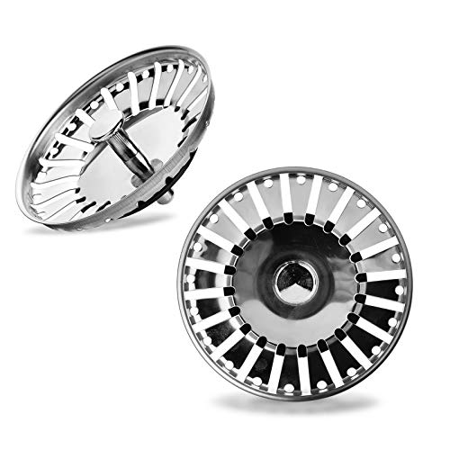 Yizhet 2 pezzi Filtro per lavello da cucina,doppio strato in acciaio INOX Filtro di scarico, per scarico da 3,3 inch(84 mm)
