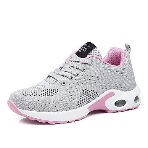 PAMRAY Laufschuhe Damen Air Gymnastik Strasenlauf Schuhe Schnuren Freizeitschuhe Grau Violett Rot Rosa Weis Grau 41