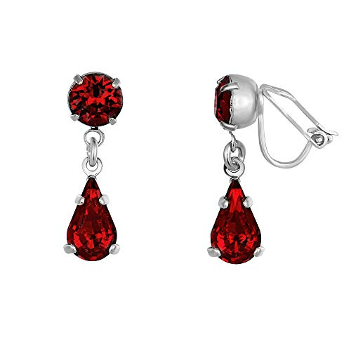 Ruby Swarovski Crystal Clip-on Earrings - Women's Silver Plated Teardrop Earrings Made From Two Red Siam Swarovski Crystals - With a Giftbox