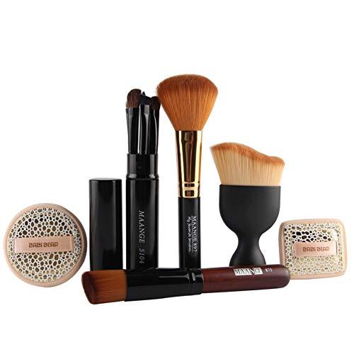 FYN Maquillage Brush Set 10 Pcs Professionnel Professionnel Maquillage Outils Fondation Brosse Blush Brosse À Oeil Brosse Léopard Motif Humide Puff Combinaison Ensemble