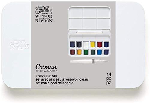 Winsor & Newton 0390658 - Set de 12 acuarelas con pincel rellenable, multicolor
