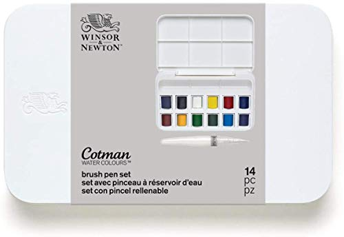 Winsor & Newton Cotman Watercolor Paint, Half Pans, Set of 12, 12 Count