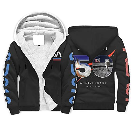 Niersensea Jungen Mädchen Sherpa Innenfutter Kapuzenpullover Jacke Sweatshirts Apollo NASA Heavyweight Hoodies Kapuzenpulli Winterjacke mit Kapuze White l