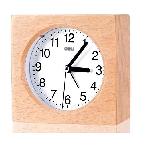 jinrun Alarma de la Creatividad de los Alumnos con el Dormitorio Luminoso de la Cama del Reloj de Escritorio de la cabecera Alarma de la Alarma Snooze Wood Square Reloj de Alarma