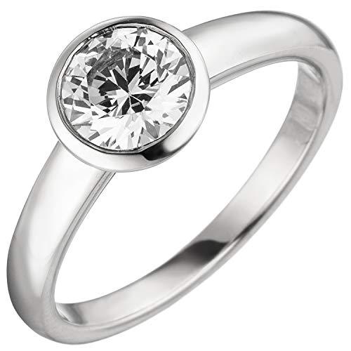 Jobo Damen Ring 585 Gold Weißgold 1 Diamant Brillant 1,0 ct. Diamantring Solitär Größe 58