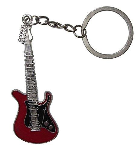 schlüsselanhänger im versilberten Stahl Stil elektrische Gitarre. (Rot/Schwarz)