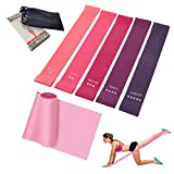 1+5 Exercise Bands Set with Multiple Elastic Force Level, 5 Resistance Bands for Legs and Butt + 1 High Elasticity Pro Yoga Tension Band, Perfect for Physical Therapy, Stretching, Home Fitness