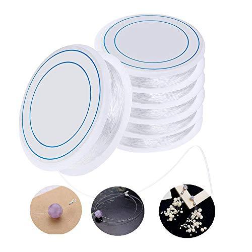 Ealicere 6xSpule 0.8mm Elastisch Schmuckfaden Gummifaden Transparent Faden für Perlenschmuck Armbänder Basteln
