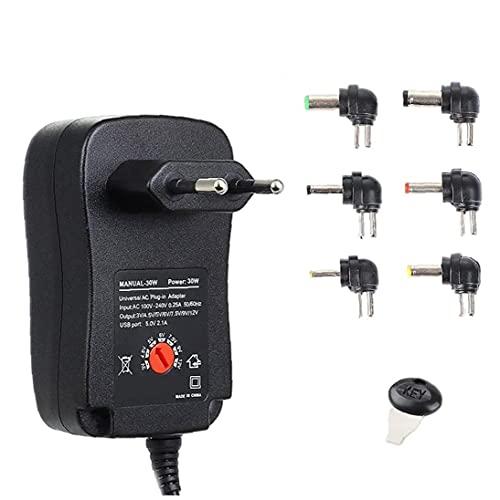 Adaptador de alimentación 30W 3-12V Cargador ajustable con adaptador USB 6DC para la tira de luz HUB STYLE2
