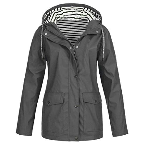 Adeliber Women's Waterproof Raincoat Outdoor Hooded Rain Jacket Windbreaker Gray