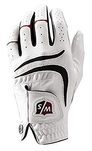 Wilson Staff Herren Golfhandschuh, Grip Plus, Material-Kombi, Größe: L, Linkshand, MLH, weiß, WGJA00680L