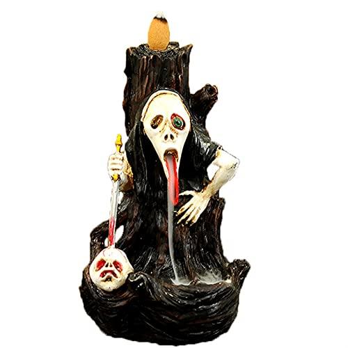 GDYJP Retroceso Incienso Quemador Creativo Resina artesanía Regalo de Horror Fantasma Festival Vino gabinete de Vino Fantasma Hombro Cabeza decoración Muy Fresco Cascada Incienso Quemador