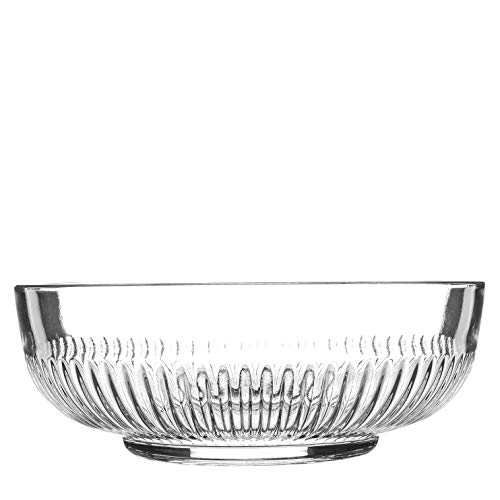 Argon Tableware Large Campana Glass Serving Bowl - Vintage Clear Kitchen Mixing Snack Bowl Dishes - 20cm
