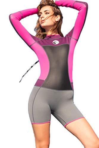 Micosuza Womens Shorty Wetsuit Long Sleeve 1.5MM Neoprene Back Zip Winter Swimwear Long Sleeve Diving Snorkeling Surfing Swimwear