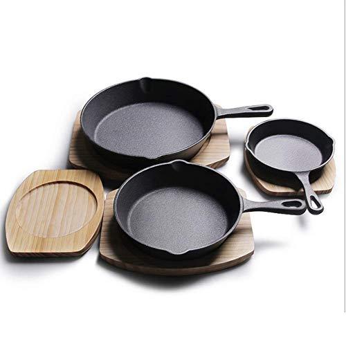 MUYEY 14CM / 16CM / 20CM / 26CM de Sartenes de Hierro Fundido sin revestir Tortilla Grill Steak sartén Antiadherente Pancake planchas crisol de cocinar,16cm