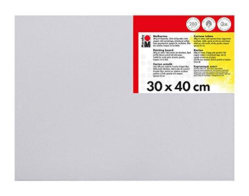 Marabu 1620000000301 - Malkarton weiß, ca. 30 x 40 cm, Kartonstärke ca. 0,4 cm, mit 280 g/qm Baumwolle kaschiert, 3 fach grundiert, leicht saugend, für Acryl-, Öl-, Gouache- und Temperafarben