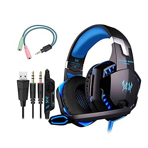 Auricular para juegos PC Headset Auricular RGB G2000 Gaming Headset auriculares para el ordenador portátil Móvil Azul