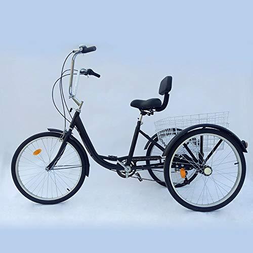Triciclo para Adultos 24 Pulgadas Bicicleta de 3 Ruedas 6 velocidade para Adultos Mayores (Negro)