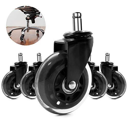 Office Chair Wheels, Caster Wheels Wear-Resistant Fashionable Silent Wheel Flexible Rotation Strong Load-Bearing Capacity Easy to Use Suitable for Variety Floors(Set of 5)…