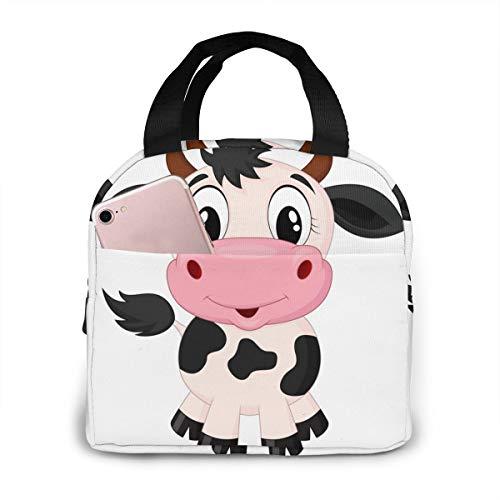 PrelerDIY Cute Cartoon Milk Cow Lunch Box Insulated Meal Bag Lunch Bag Reusable Snack Bag Food Container For Boys Girls Men Women School Work Travel Picnic