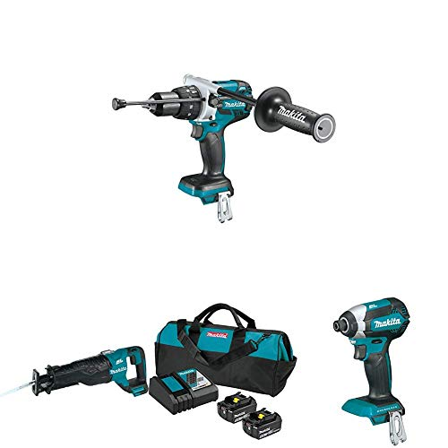 Makita XPH07Z 18V LXT Brushless Cordless 1/2 in. XPT Hammer Drill/Driver with XDT13Z Cordless Impact Driver, XRJ05Z Cordless Reciprocating Saw and BL1850BDC2X Battery/Charger Starter Pack (5.0Ah)
