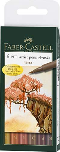 Faber-Castell 167106 - Tuschestift Pitt artist pen brush -Terra- 6er Packung