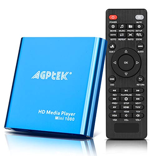 AGPTEK HD Media Player, Mini 1080p Full HD HD HDMI Media Player per -MKV   RM- HDD Unità USB e schede SD (blu)