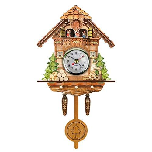 Reloj de cuco de madera antigua, colgante de la Selva Negra, Auto Swing Bell péndulo reloj de pared decoración del hogar