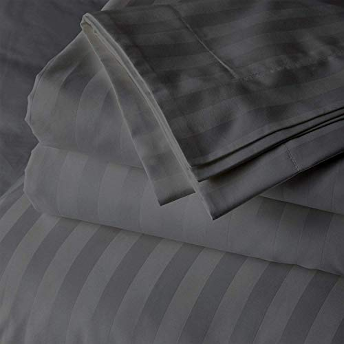 Cotton Bed Sheets 4 Piece Set 400 Thread Count 100% Extra Long Staple Luxurious & Hypoallergenic Bedding Hotel & Home Collection Deep Pocket 10-18 inches (Full, Dark Grey Stripe)